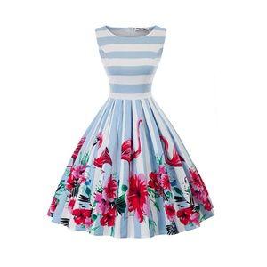 Flamingo Boatneck Vintage Tea Belted Dress